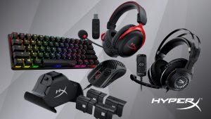 Imagem dos diversos produtos da HyperX, que agora fará parte da HP