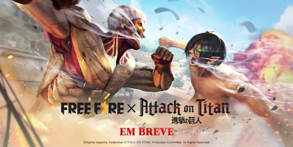 Free Fire, o battle royale da Garena, trará evento de Attack on Titan.
