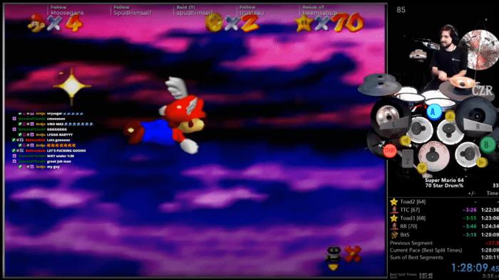 Super Mario 64   Jogador faz speedrunner com uma bateria