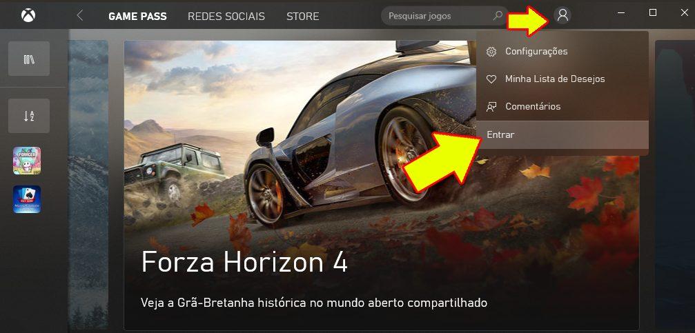 Como logar no aplicativo Xbox pelo PC para baixar os jogos grátis.